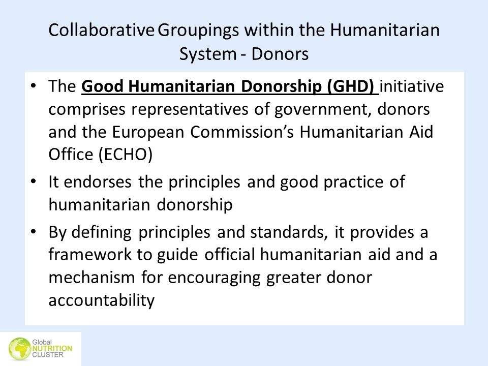 Collaborative Groupings within the Humanitarian System - Donors