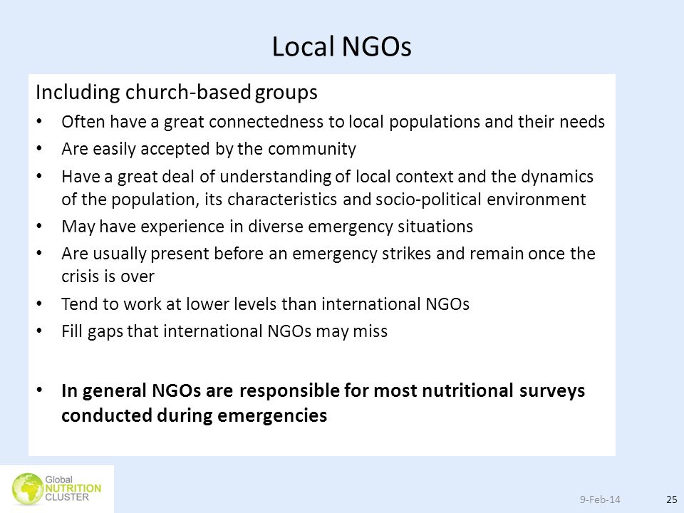 Local NGOs Including church-based groups