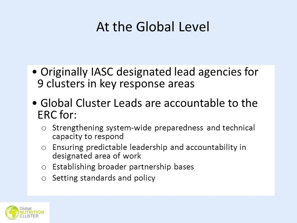 At the Global Level Originally IASC designated lead agencies for 9 clusters in key response areas.