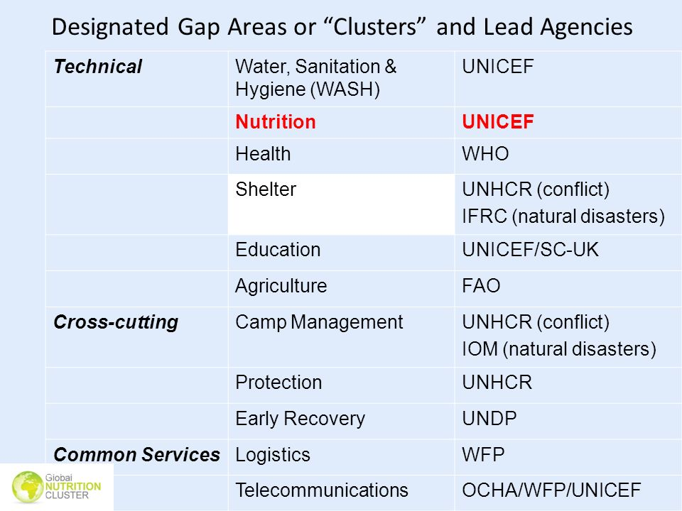 Designated Gap Areas or Clusters and Lead Agencies