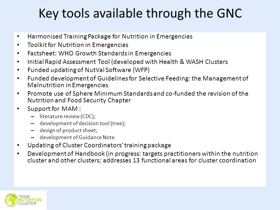 Key tools available through the GNC