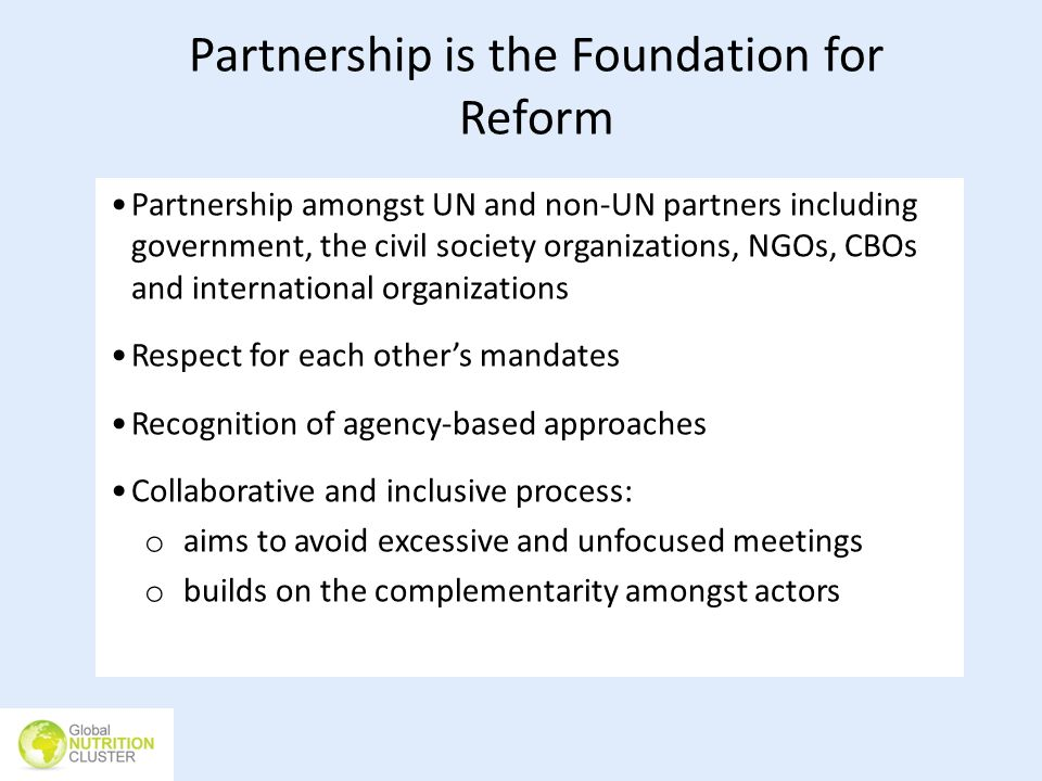Partnership is the Foundation for Reform