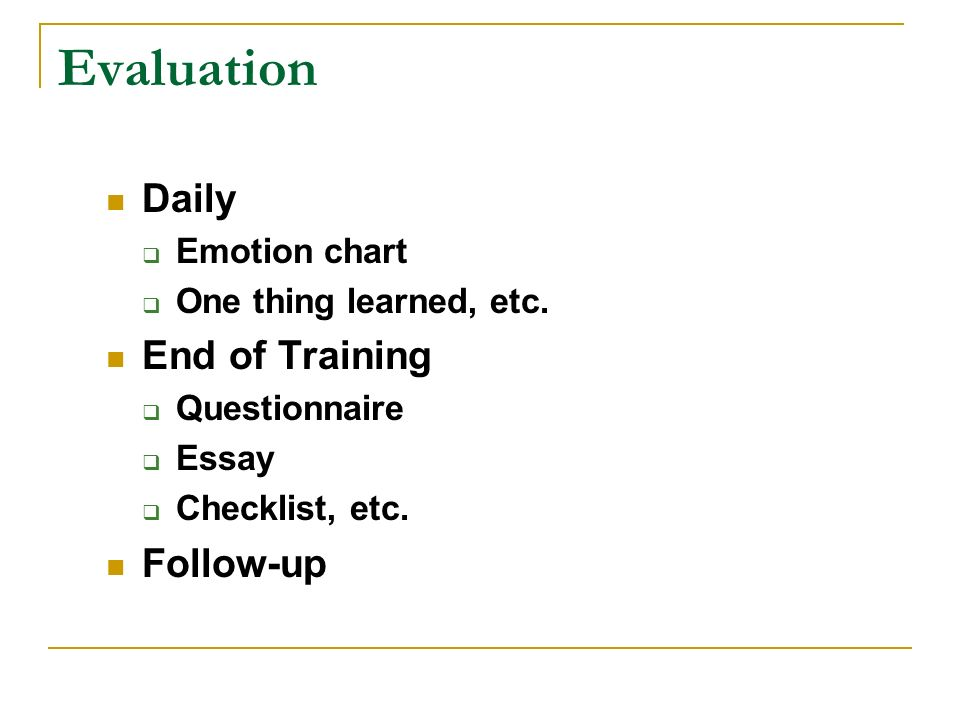 Evaluation Daily End of Training Follow-up Emotion chart