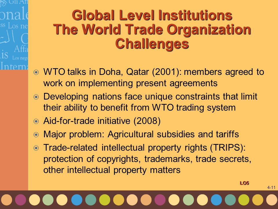 Global Level Institutions The World Trade Organization Challenges