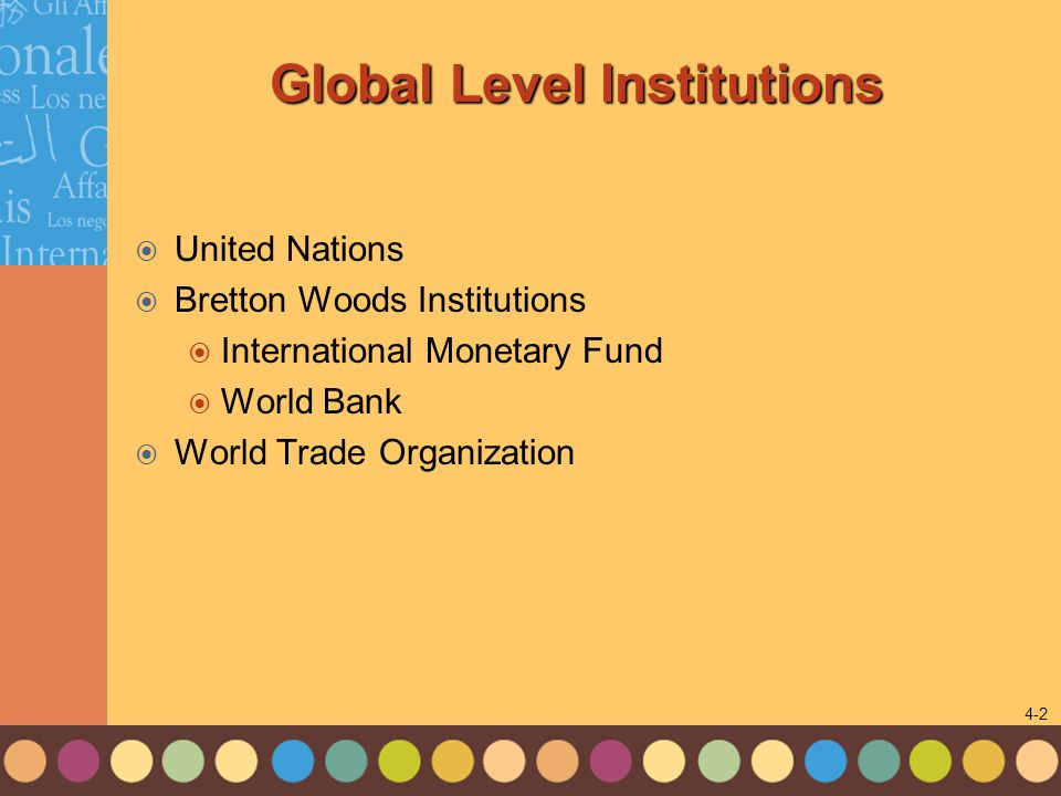 Global Level Institutions