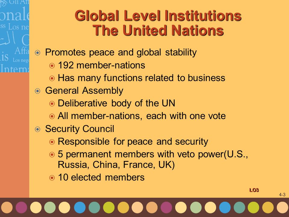 Global Level Institutions The United Nations