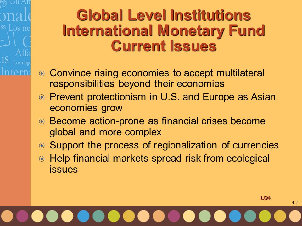 Global Level Institutions International Monetary Fund Current Issues