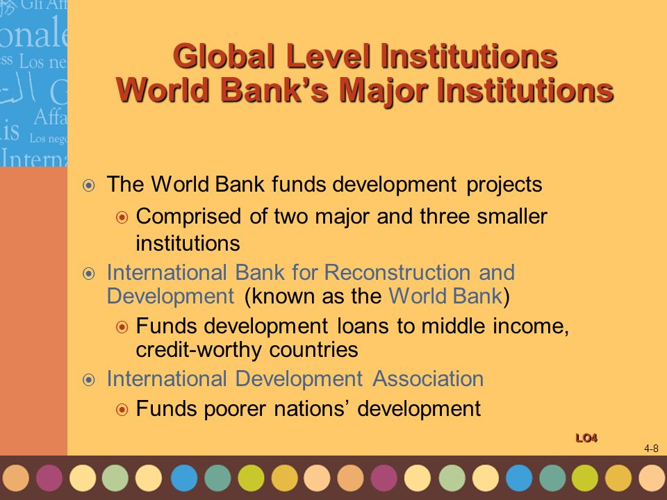 Global Level Institutions World Bank's Major Institutions
