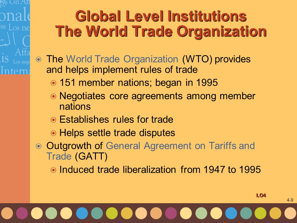 Global Level Institutions The World Trade Organization