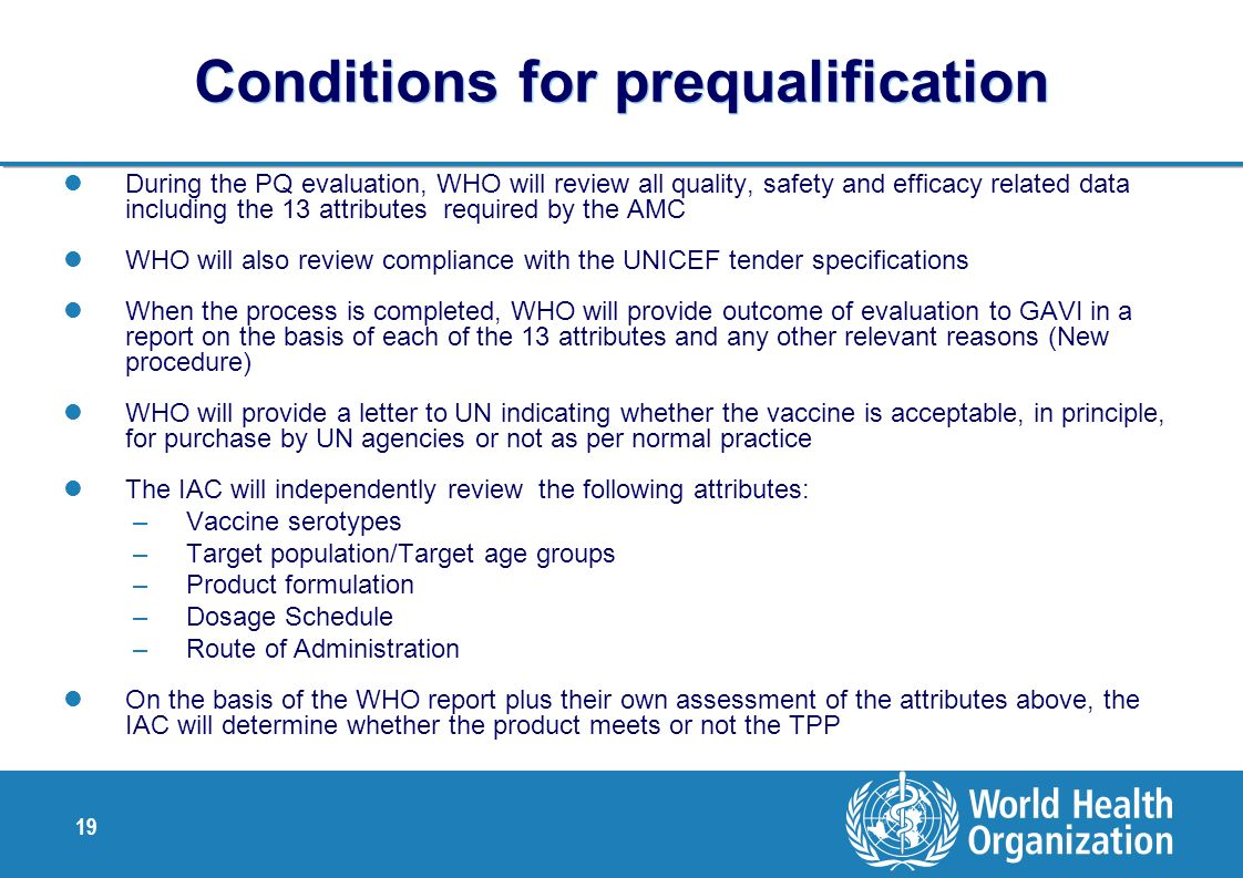 Conditions for prequalification