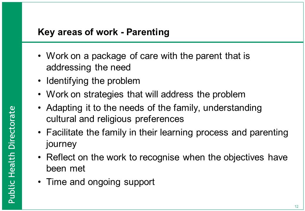 Key areas of work - Parenting