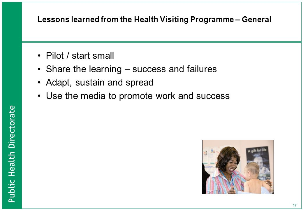 Lessons learned from the Health Visiting Programme – General
