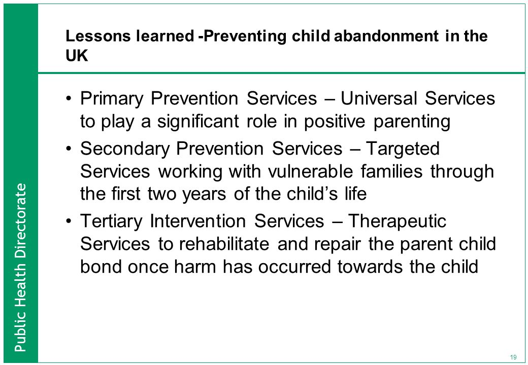 Lessons learned -Preventing child abandonment in the UK