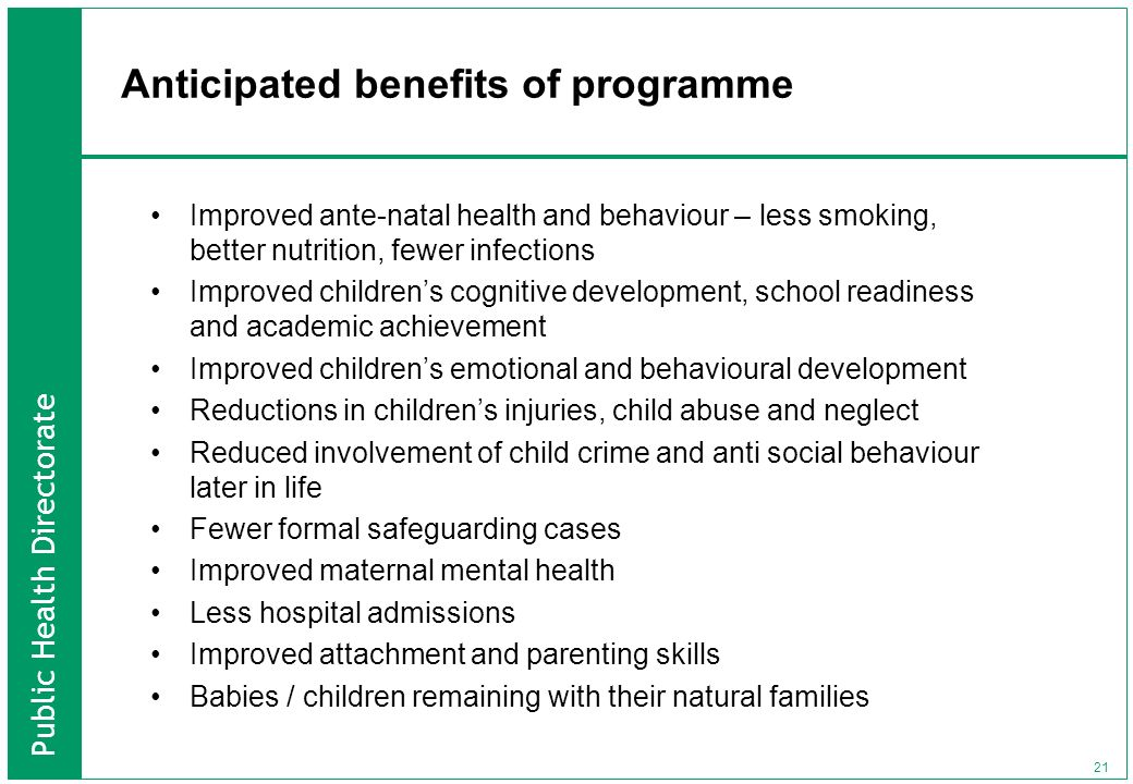 Anticipated benefits of programme