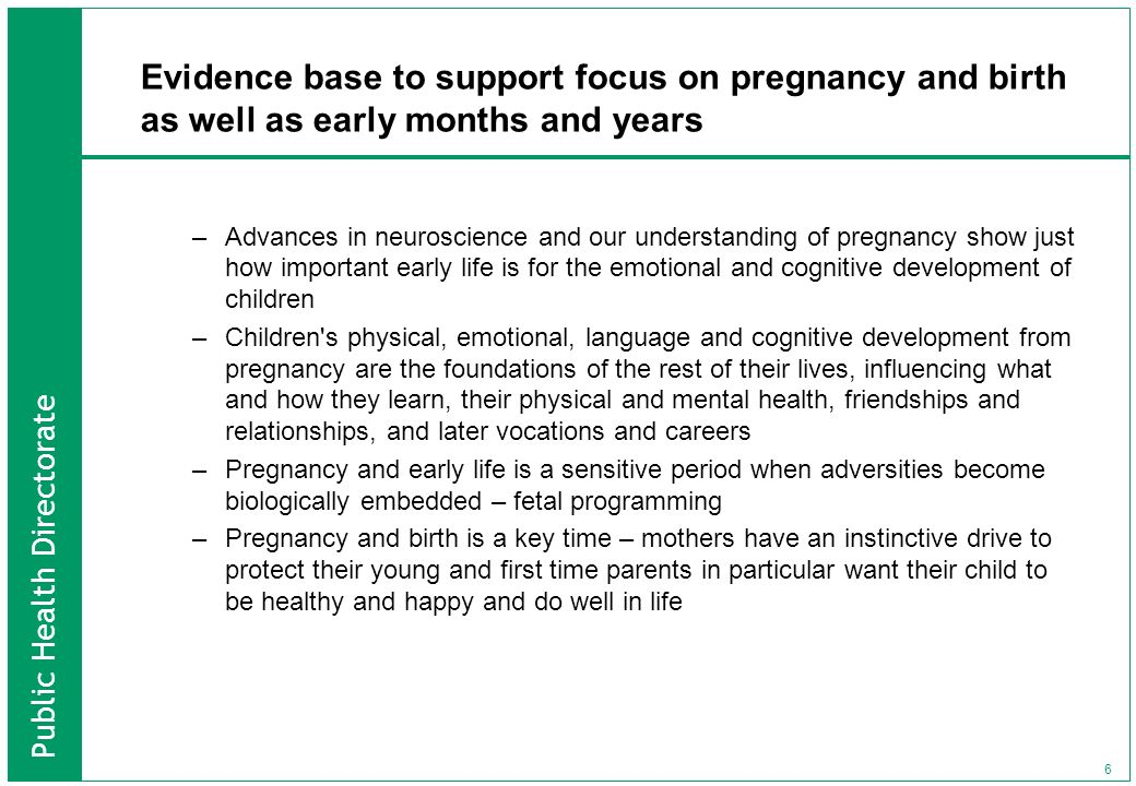 Evidence base to support focus on pregnancy and birth as well as early months and years