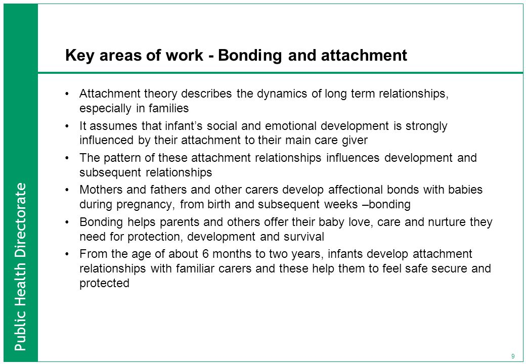 Key areas of work - Bonding and attachment