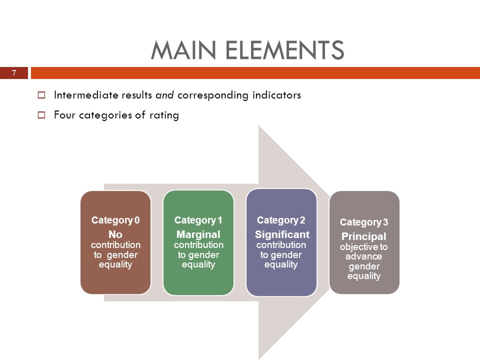 Main elements Intermediate results and corresponding indicators