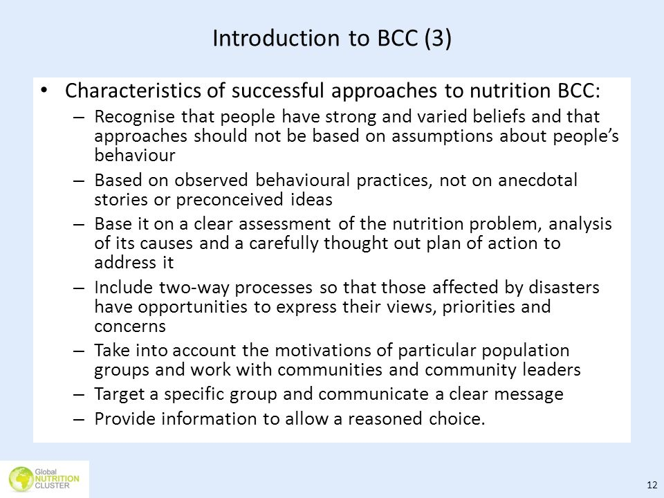 Introduction to BCC (3) Characteristics of successful approaches to nutrition BCC: