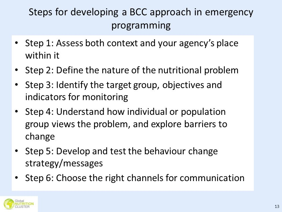 Steps for developing a BCC approach in emergency programming