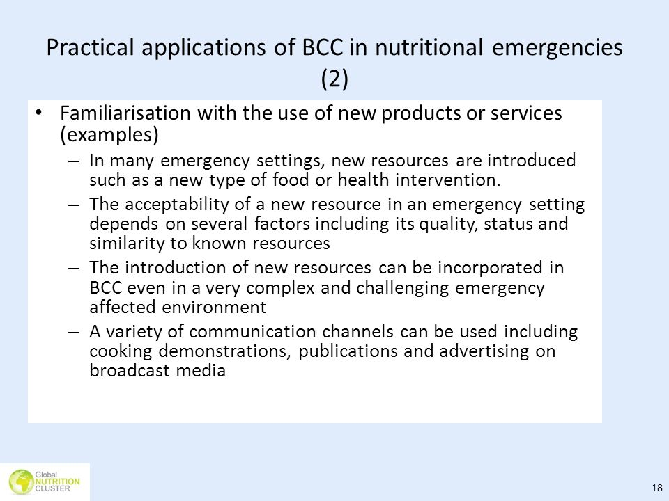Practical applications of BCC in nutritional emergencies (2)