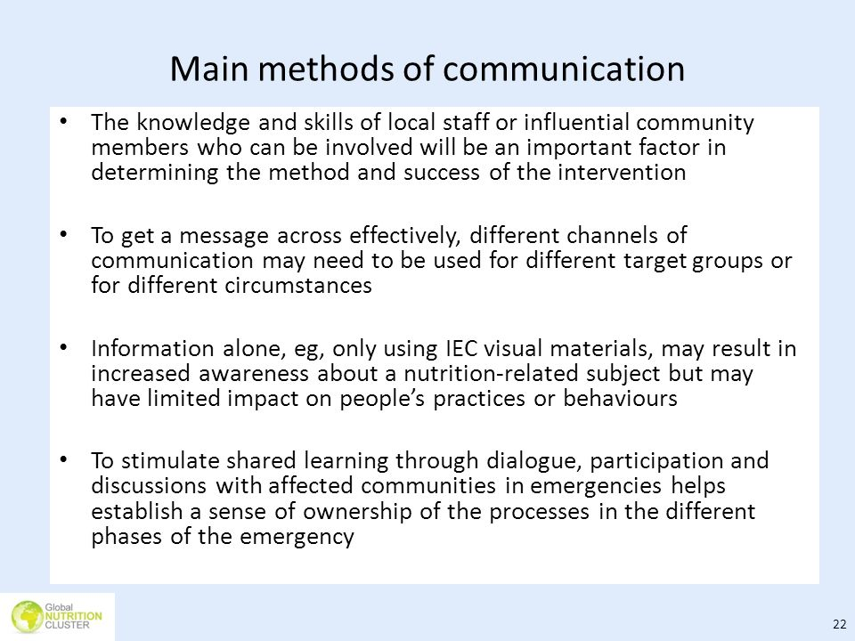 Main methods of communication