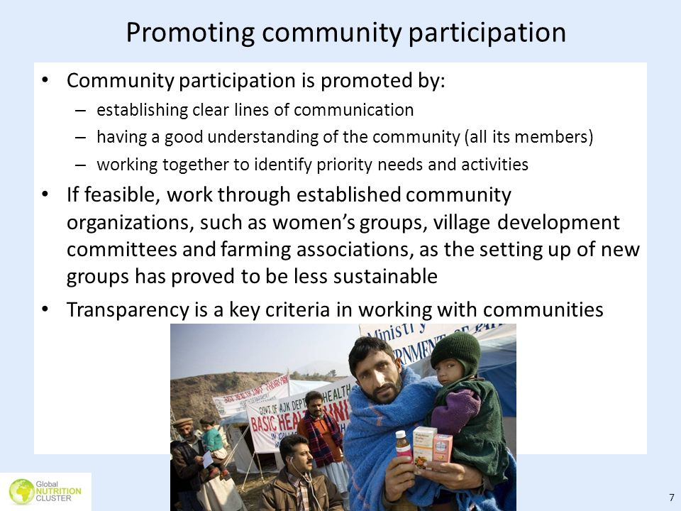 Promoting community participation