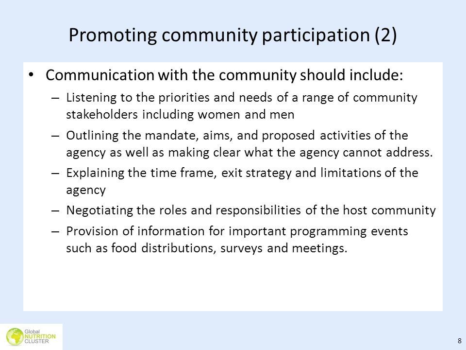 Promoting community participation (2)