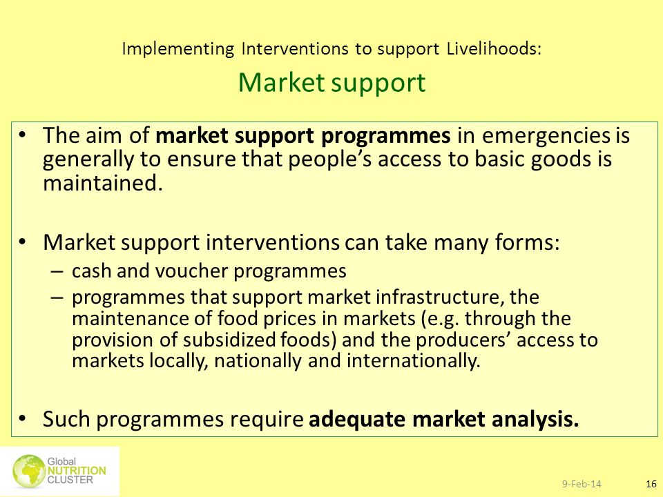 Implementing Interventions to support Livelihoods: Market support