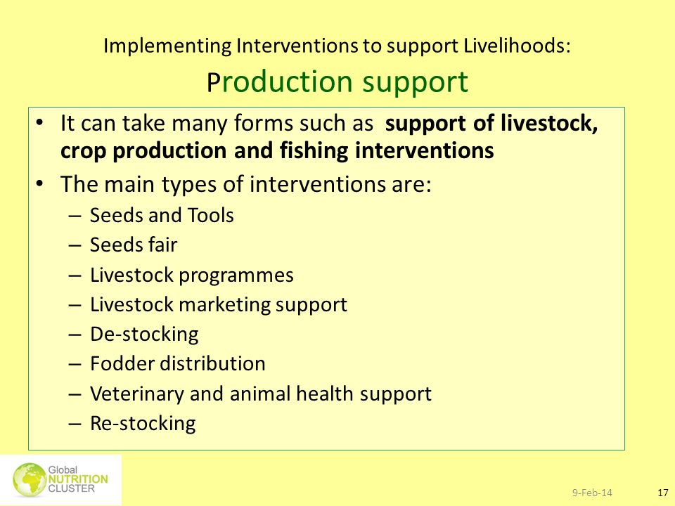Implementing Interventions to support Livelihoods: Production support