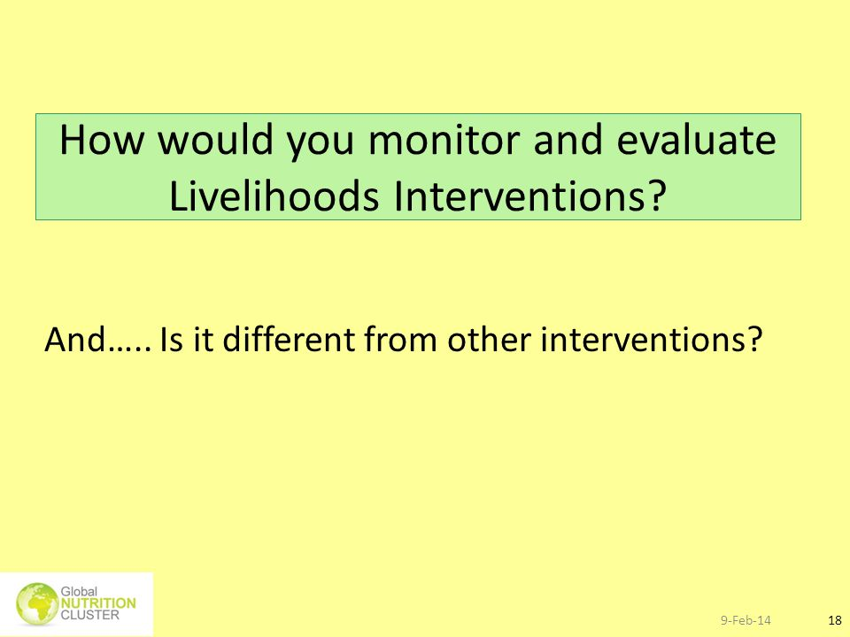 How would you monitor and evaluate Livelihoods Interventions