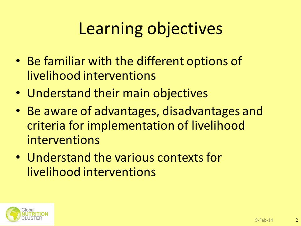 Learning objectives Be familiar with the different options of livelihood interventions. Understand their main objectives.