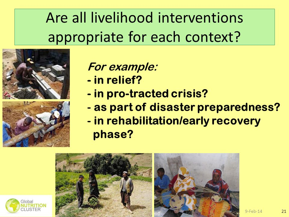 Are all livelihood interventions appropriate for each context