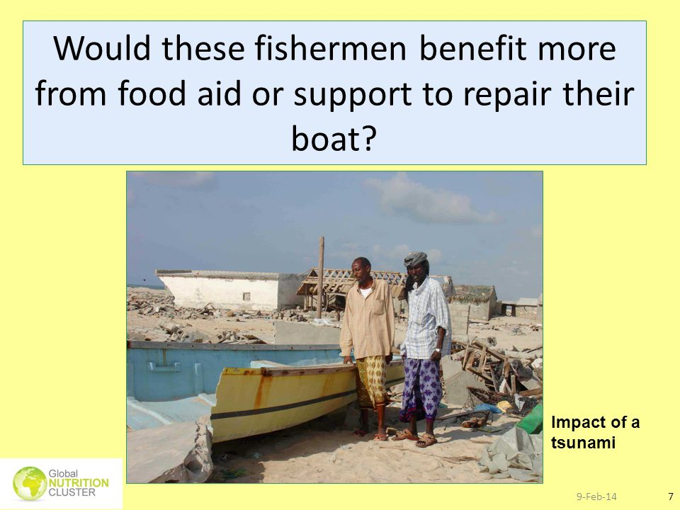 Would these fishermen benefit more from food aid or support to repair their boat