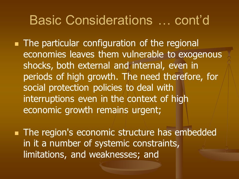 Basic Considerations … cont'd