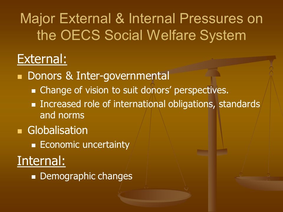 Major External & Internal Pressures on the OECS Social Welfare System