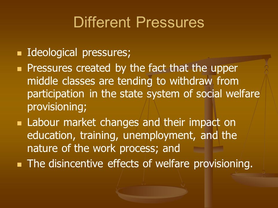 Different Pressures Ideological pressures;