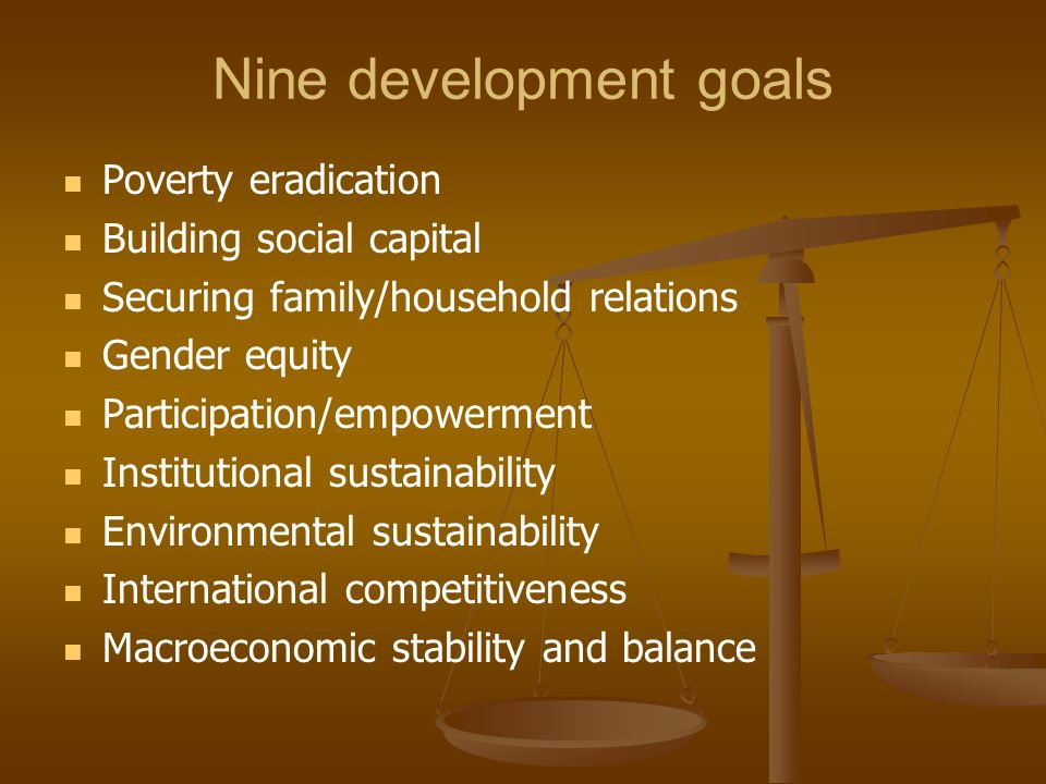 Nine development goals