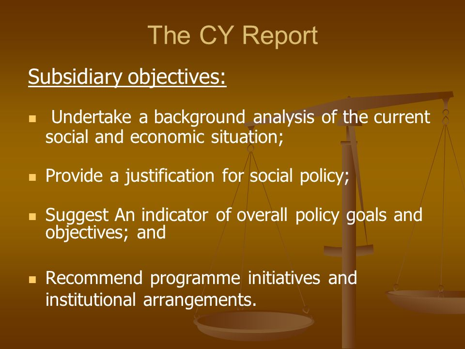 The CY Report Subsidiary objectives: