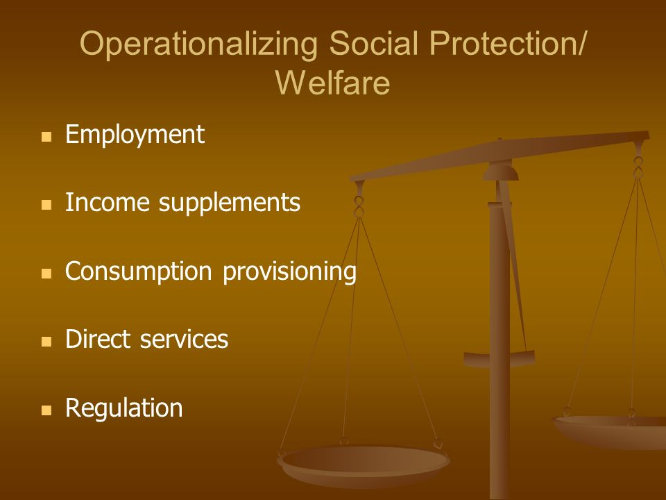Operationalizing Social Protection/ Welfare