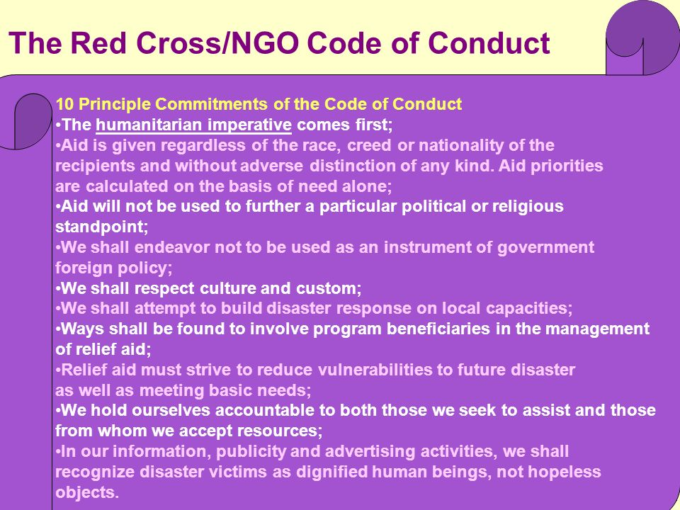 The Red Cross/NGO Code of Conduct