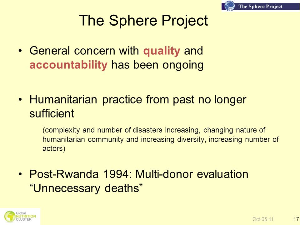 The Sphere Project General concern with quality and accountability has been ongoing. Humanitarian practice from past no longer sufficient.