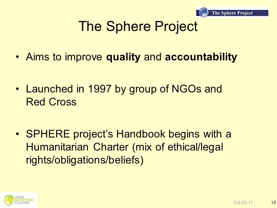 The Sphere Project Aims to improve quality and accountability