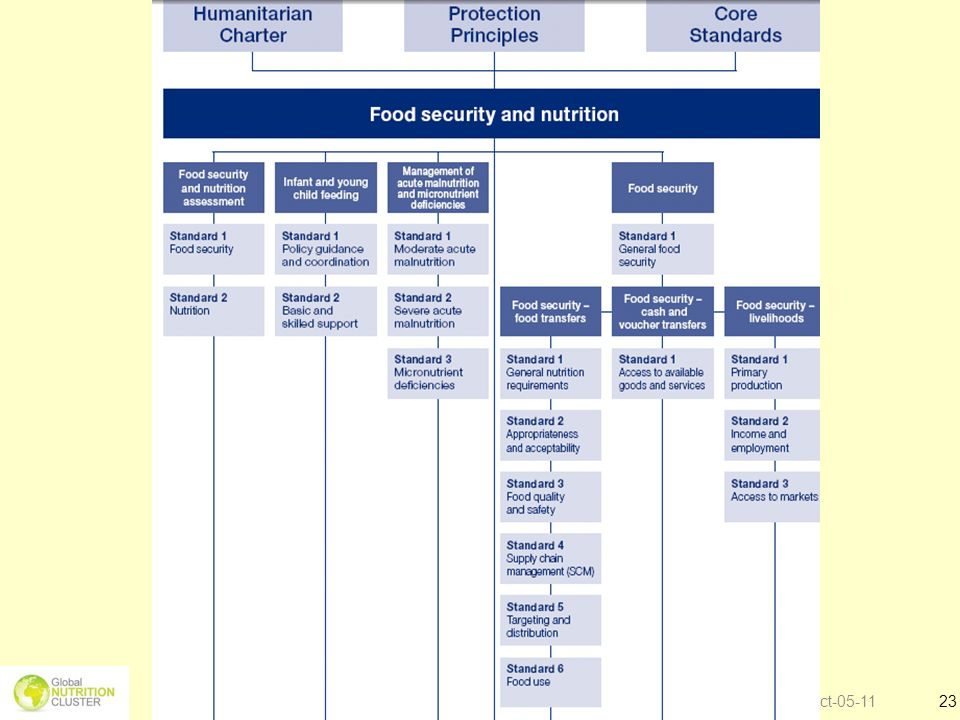 Overview of contents on Food security and nutrition in SPHERE handbook