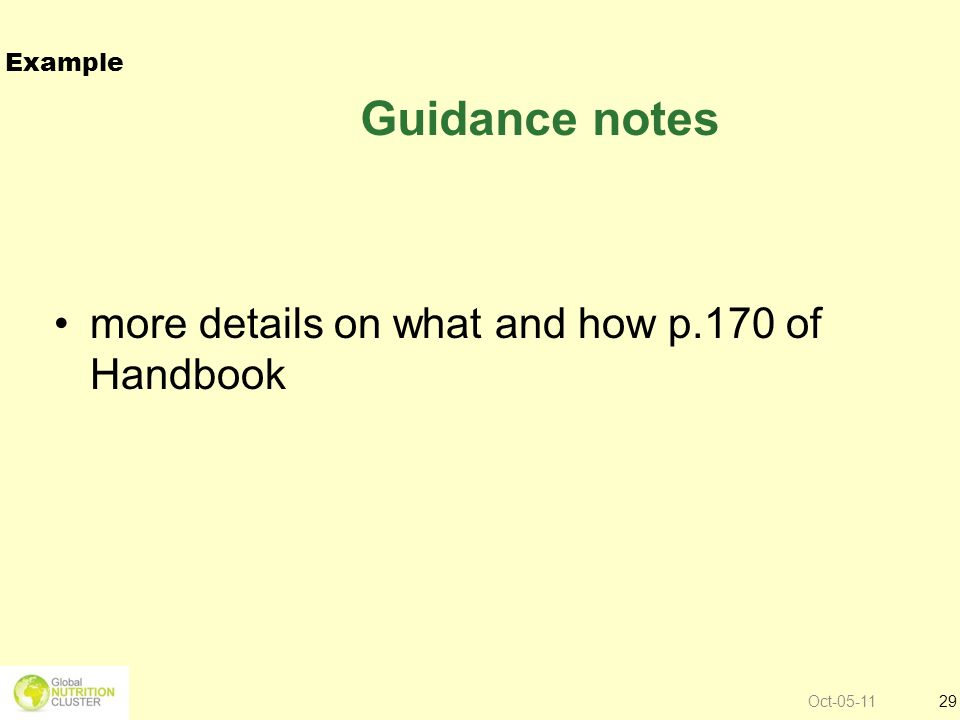 Guidance notes more details on what and how p.170 of Handbook Example