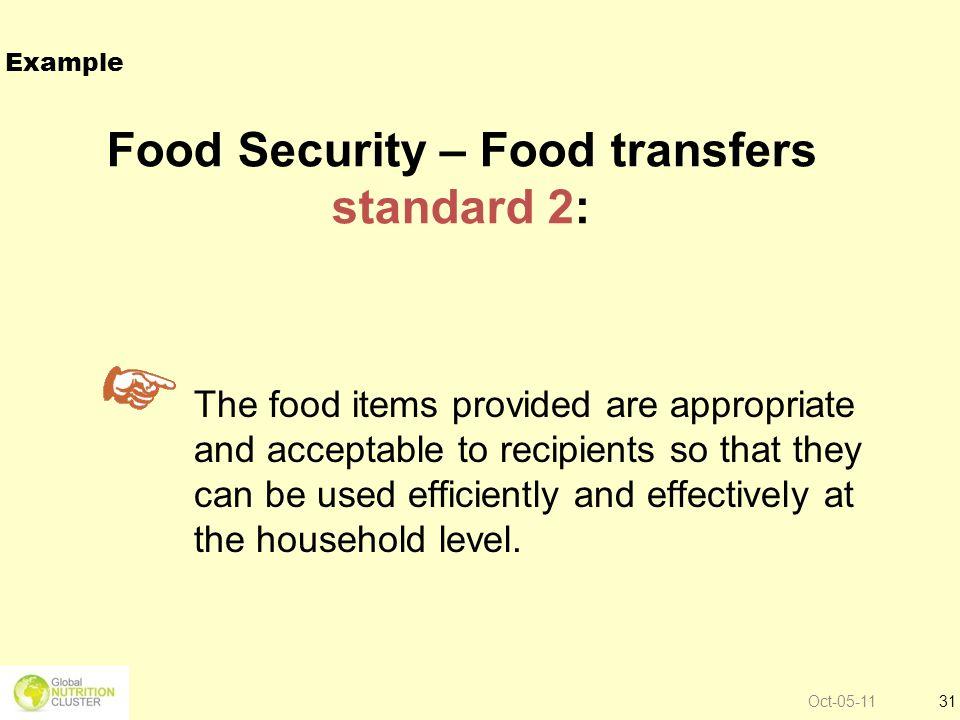 Food Security – Food transfers standard 2: