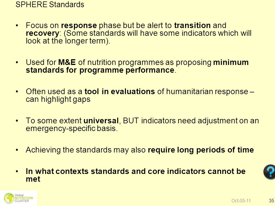 Achieving the standards may also require long periods of time