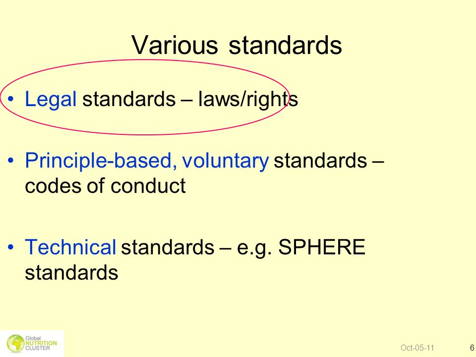 Various standards Legal standards – laws/rights