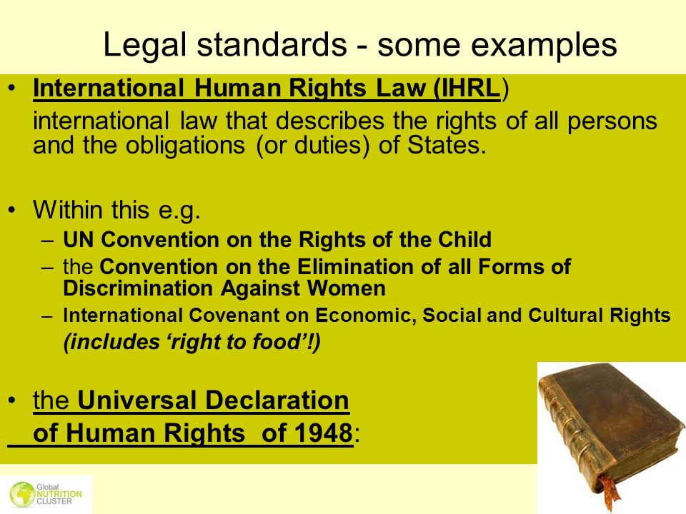 Legal standards - some examples