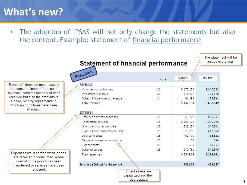 What's new The adoption of IPSAS will not only change the statements but also the content. Example: statement of financial performance.