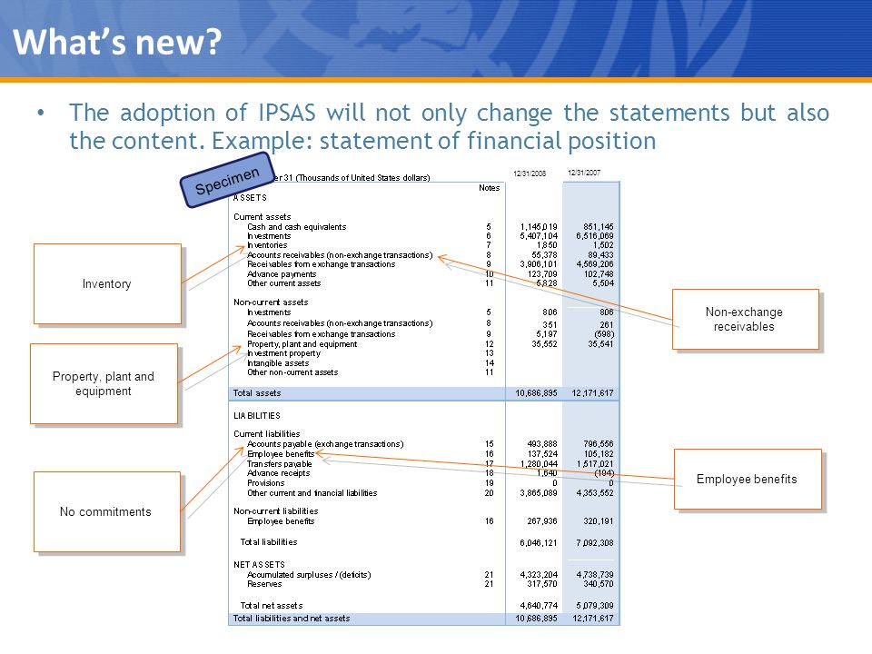 What's new The adoption of IPSAS will not only change the statements but also the content. Example: statement of financial position.